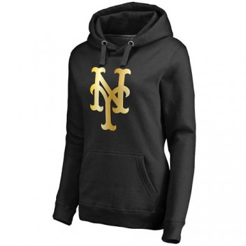 Women's New York Mets Gold Collection Pullover Hoodie - Black -